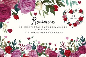 Romance- Watercolor Clipart Set