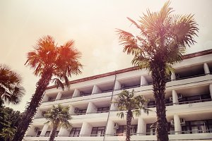 hotel for resorts. palms and sun. retro style. travel and tourism