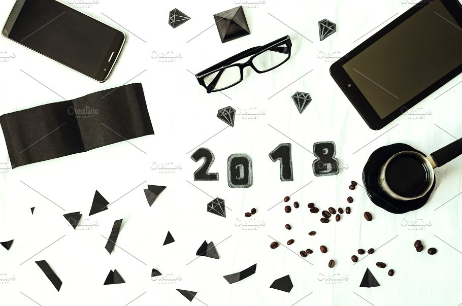 workplace black style white background plans for the new year 2018 year plans goals