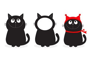 Black cat variations. Greeting card