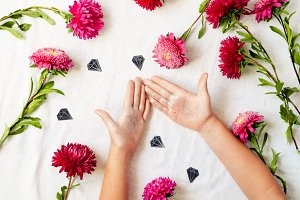 holiday decorations. gentle style. flowers, hands, diamonds