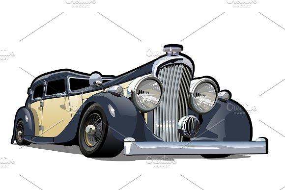 Cartoon retro car in Illustrations