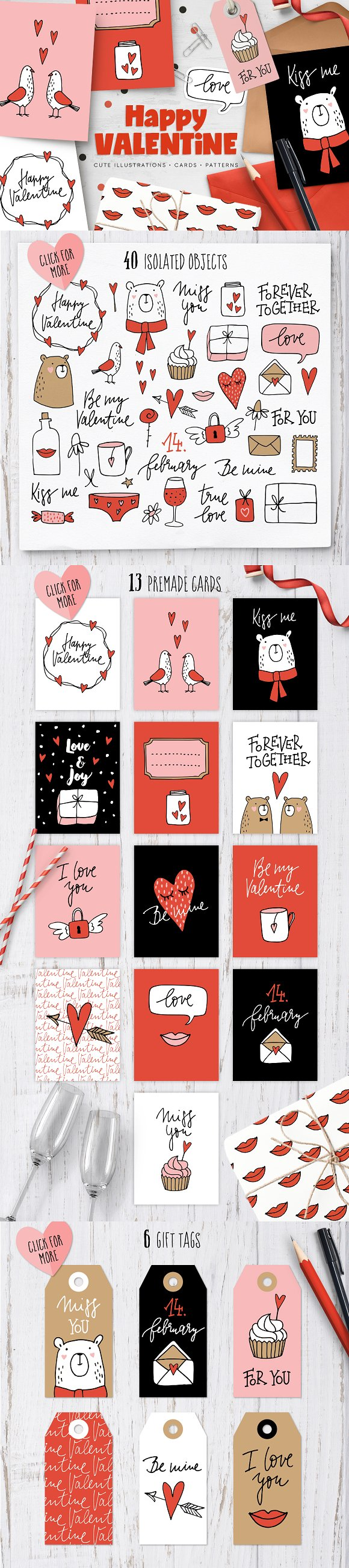 Happy Valentine graphic set in Illustrations