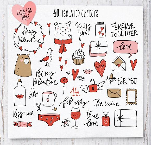 Happy Valentine graphic set in Illustrations - product preview 2