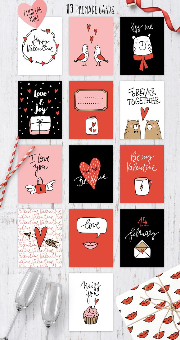 Happy Valentine graphic set in Illustrations - product preview 3