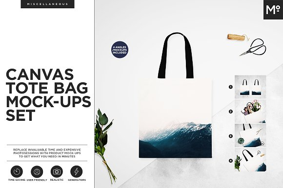 Canvas Tote Bag Mock-ups Set  in Product Mockups