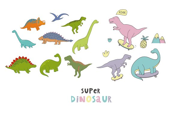 Cool Dinosaur pattern  in Patterns - product preview 1