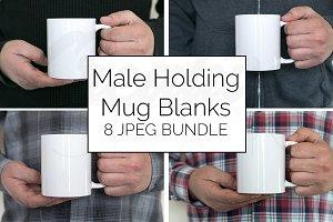 Male Blank Coffee Mug Mockup Bundle