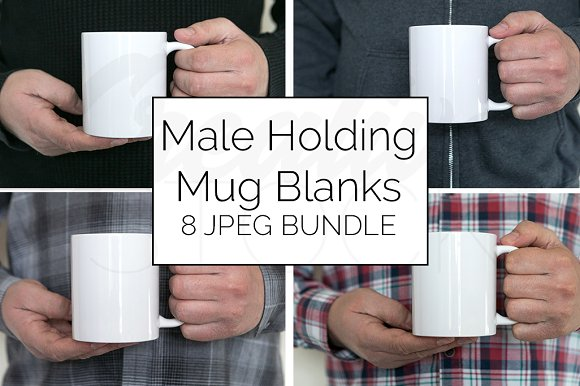 Male Blank Coffee Mug Mockup Bundle
