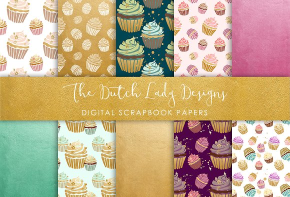 Cupcake Pattern - Scrapbook Papers