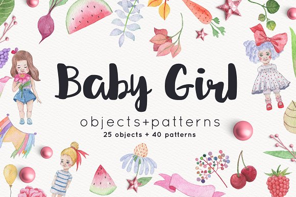 Baby Girl objects and patterns set in Illustrations
