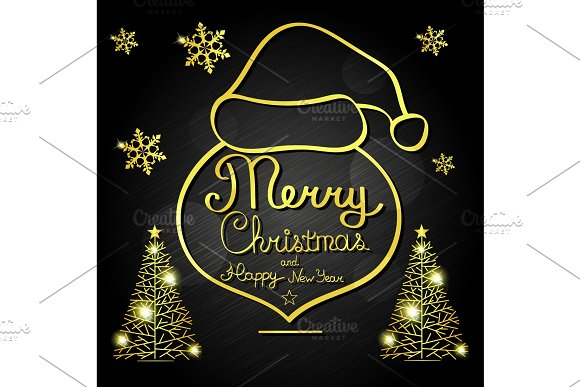 Merry Christmas vector text in Objects