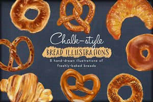 Chalk-style Bread Illustrations