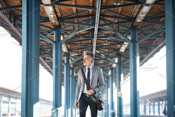 Mature businessman on a train station. in Graphics