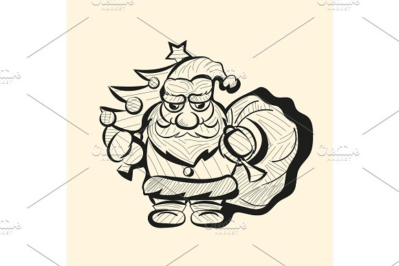 Vector old Santa hand drawn sketch