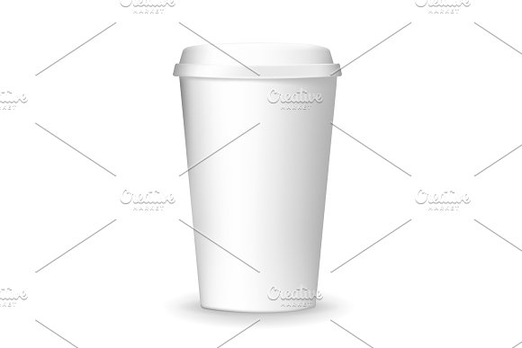 Realistic, plain and blank, to go and takeaway paper coffee cup mockup. in Illustrations