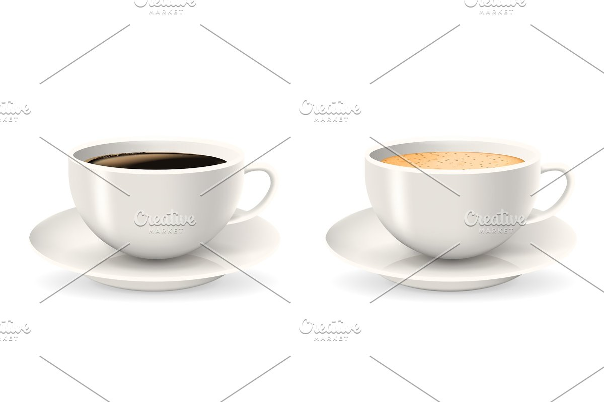 Composition of two coffee cups on saucers.