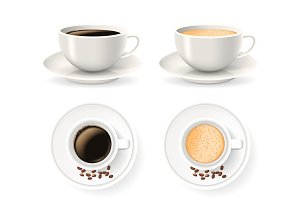 Top and front views of cups on saucers with coffee beans. Vector set.