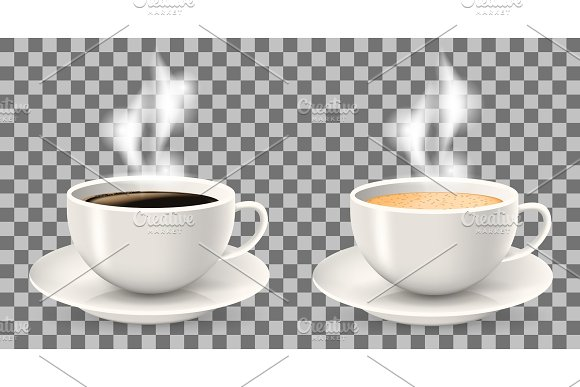 Two hot cups of coffee with steam on saucers.