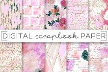 Pastel Pink Floral Digital Papers