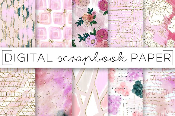 Pastel Pink Floral Digital Papers