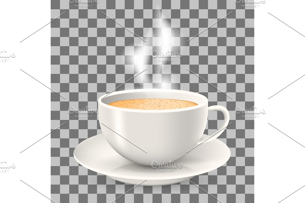 Hot cup of coffee with steam on saucer. in Illustrations