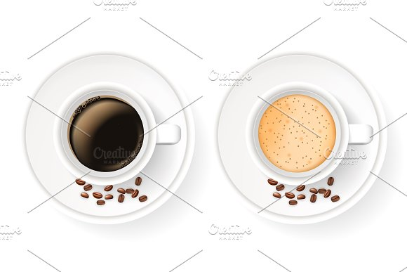 Top view of two realistic cups on saucers with coffee beans.