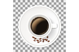 Top view of cup on saucer with coffee beans. Realistic illustration.