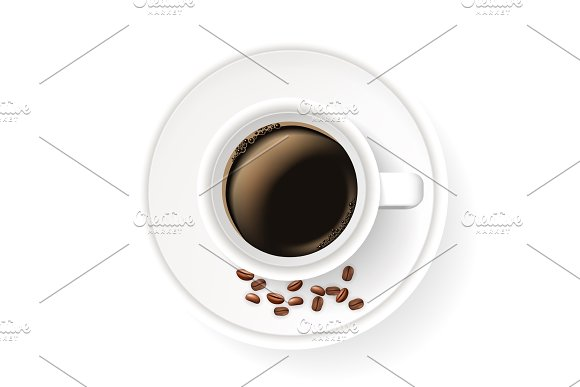 Realistic cup on saucer with coffee beans. Top view.
