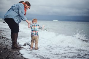 Little Boy & Mom Playing in Water