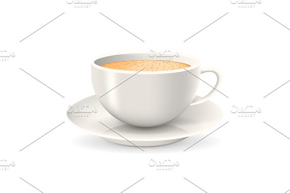 Realistic cup of coffee on saucer.