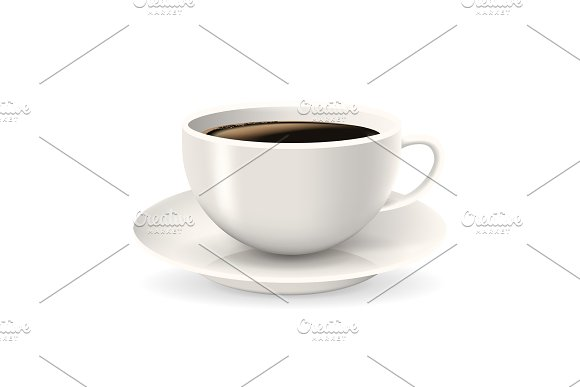 Realistic, white cup of coffee on saucer.