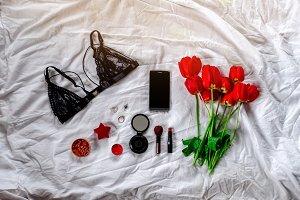 Female elegant set. Phone, cosmetics and bra