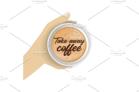 Top view of hand holding realistic, to go, takeaway paper coffee cup. in Illustrations