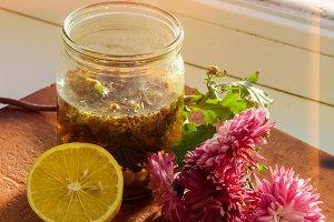 Home health tea against colds. Chamomile tea and lemon
