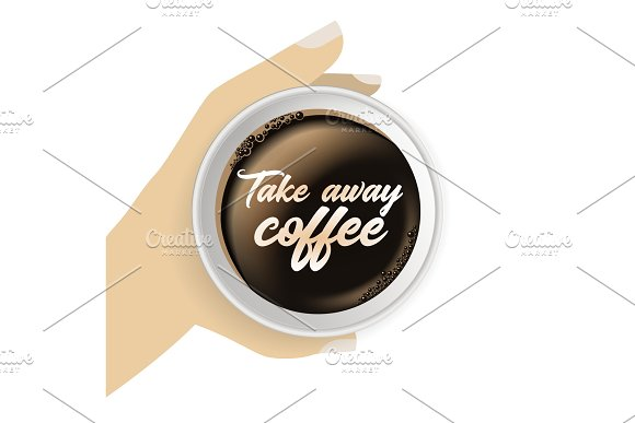 Top view of hand holding realistic, takeaway, to go paper coffee cup.