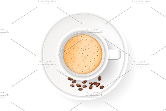 Top view of realistic cup on saucer with coffee beans.