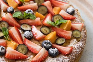 cakes with fruit and berries