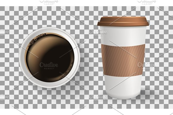 Composition of top and front view to go and takeaway realistic paper coffee cups.
