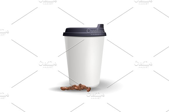 Realistic, plain and blank paper cup mockup with coffee beans.