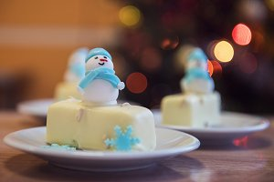 Christmas dessert with snowman