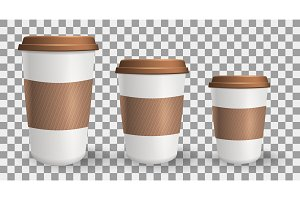 Set of realistic, to go and takeaway paper coffee cups in different sizes.