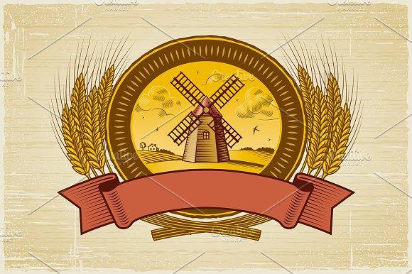 Cereal Harvest Label in Illustrations