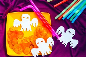 chips on a plate. ghost. Halloween.