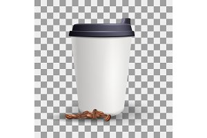 Realistic blank and plain paper cup mockup with coffee beans.