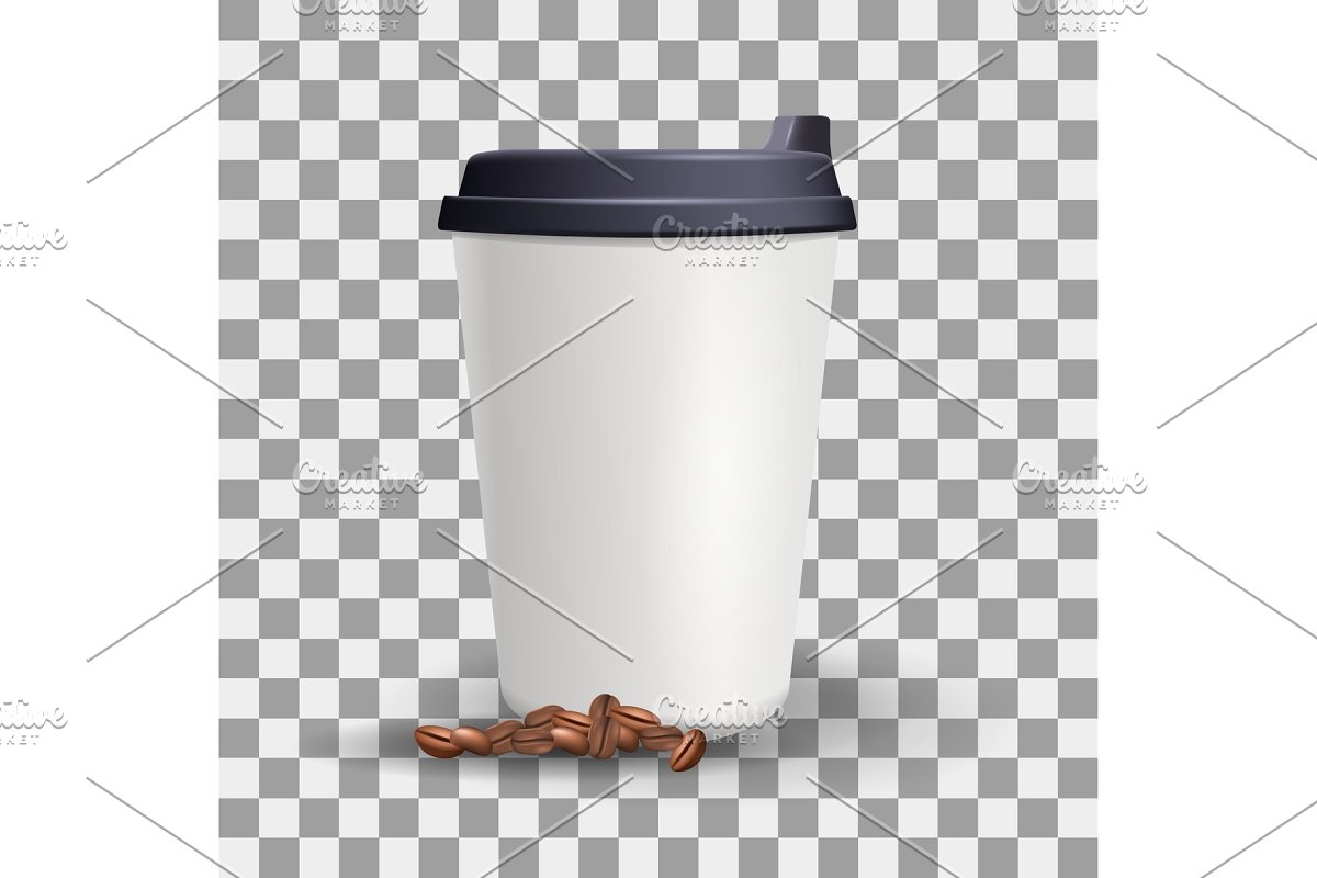 Realistic blank and plain paper cup mockup with coffee beans. in Illustrations