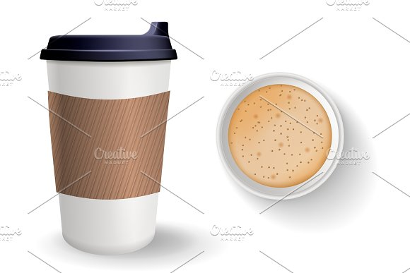 Composition of top and front view take away and to go realistic paper coffee cups. in Illustrations