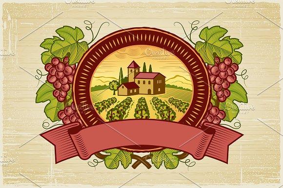Grapes Harvest Label in Illustrations