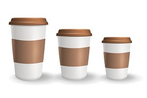 Set of realistic takeaway and to go paper coffee cups in different sizes.