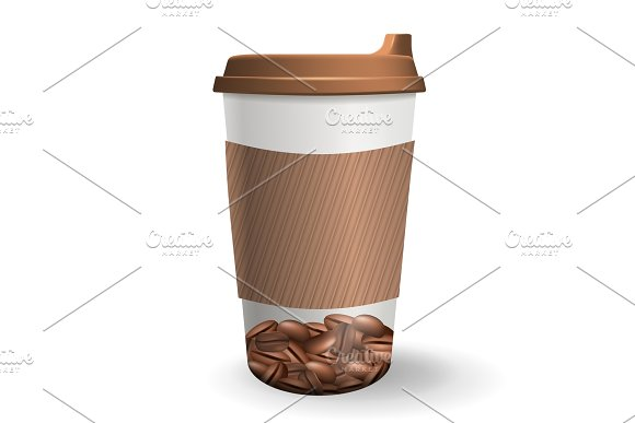 Realistic, to go and takeaway paper cup with coffee beans pattern.